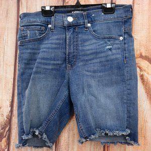 High Waisted Distressed Denim Bermuda Shorts